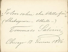 TOMMASO SALVINI - AUTOGRAPH QUOTATION SIGNED 01/12/1886