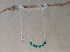 Sterling silver 925 pendant with green natural malachite beads
