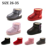 Kids Toddlers Snow Boots Boys Girls Soft Slip On Winter Shoes Fur Lined Size