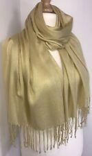 Sparkly Gold Scarf Pashmina Shawl Wrap Shimmery Fringed Soft Oversized Long NEW