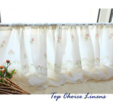 Country Cottage Kitchen Embroidered Rose Window 2 Layers Cafe Tier Curtain