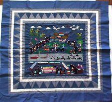 "Hmong  Embroidered Folk Story Cloth, Mekong River & Resettlement (36""x38"")"