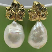 13-18mm White Baroque Pearl Earrings Leaf 18K Ear Stud jewelry natural