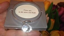NEW Sterling Silver Catch I Love You To The Moon and Back Bangle Bracelet