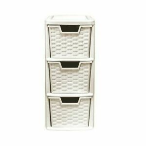 3 Drawer Rattan Style Plastic Small Cream Tower Storage Unit for School Home