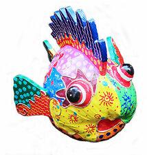More details for decorative brightly painted tropical fish made from a coco-nut, hand-made, new