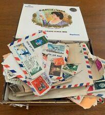 Garcia & Vega Cigar Box Full of Lot World Postage Stamps on Paper 1960-1970+More