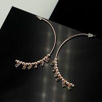 Earrings Golden Creole Ring Long C Shape Tassel Crystal M4