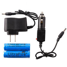 2PCS 3200mAh 3.7V 18650 Rechargeable Li-ion Battery+AC&Car Charger for Headlamp