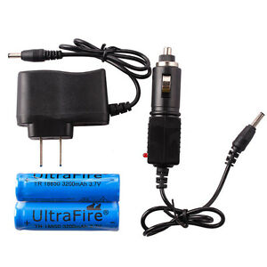 2PCS 3.7V Rechargeable Li-ion Battery+AC&Car Charger for Headlamp Flashlight