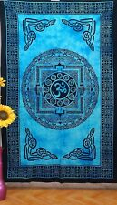 Om Wall Tapestry Hanging Indian Cotton Mandala Decor Yoga Hippie Blue USA Seller