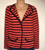 Cabi womens cardigan nautical red navy stripes knit size M