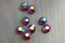 Vintage Old Japan Fuschia Berry AB Crystal Faceted Lentil Coin Crystal Bead Lot