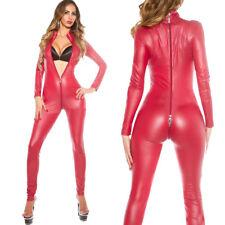 2XL Women Red PVC Faux Leather Zip Playsuit Bodysuit Costume Clubwear Jumpsuit
