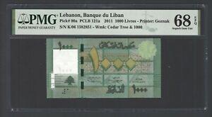 Lebanon 1000 Lira 2011 P90a Radar Serial Number Uncirculated Grade 68 Top Pop