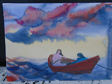 Watercolor Painting John Neville Halls Harbour NS Man Nude Woman Dory Boat #2