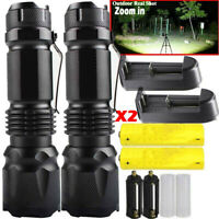 350000LM T6 LED Zoom Tactical Torch Flashlight Work Light Headlamp Waterproof
