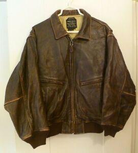 Vintage AVIREX U.S. NAVY Type G-2  Flight Bomber Leather Jacket, Size 44