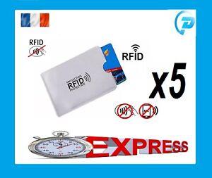 Lot 5 pochette étui protection carte bancaire sans contact RFID anti-piratage