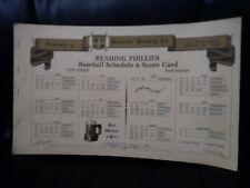 1960's? Horlacher Beer/Reading Phillies Scorebook w/schedule near mint
