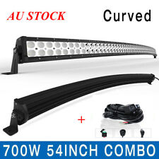 1X Curved 54inch 700W LED Light Bar Flood Spot Roof Driving Truck RZR Wiring kit