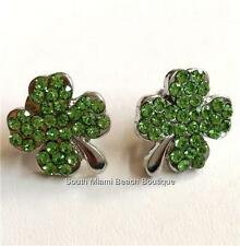 Silver Plated Shamrock Earrings Green Crystal Irish Clover Celtic St PatricksDay
