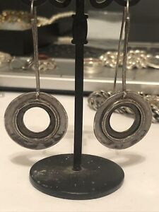 Silpada Sterling Silver Oxidized Hammered Circle Long Threader Earrings W1654