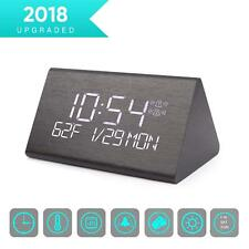 LED Digital Alarm Clock 7 Levels Adjustable Brightness Voice Command Electric