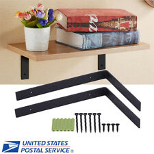 2pcs Heavy Duty Steel Metal Wall Shelf Brackets Black for Book Contertop Support