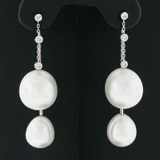 18k White Gold South Sea Pearl & Round Bezel Diamond Double Drop Dangle Earrings