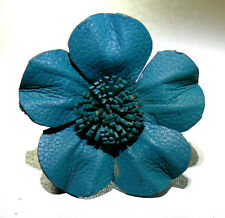 BAGUE FLEUR CUIR BLEU ETHNIQUE TAILLE REGLABLE LEATHER RING BLUE FLOWER