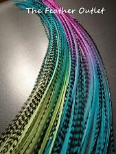 Lot 20 Grizzly Feathers Hair Extensions long thin striped Real Blue Tie Dye2