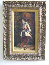 """""""Musketeer"""" old oil on canvas, painting after Meissonier"""