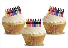12 Novelty Colouring Crayons Edible Cupcake Cake Toppers Decorations Colour