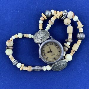Vintage Fossil Bracelet Watch SW-6602 Wood Beads Excellent Condition TESTED