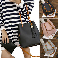 2PC Women Leather Tassels Hobe Single Shoulder Bucket Bag+Clutch Bag Shopper Bag