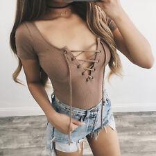 Womens Bodysuit Summer Short Sleeve Rib Knit Jumpsuit Romper Lace Up Playsuit