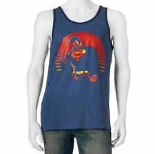 79125fbaa448cf DC Comics Superman Size S M L XL 2XL Blue Graphic Print Print Tank Top NEW