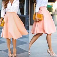 Women Chiffon Vintage Stretch High Waist Plain Skater Flared Pleated Skirt Dress