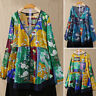 Women's Buttons V Neck Casual Shirt Tops Floral Print Blouse Ethnic Loose Tops