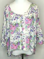 Sportsgirl Floral Boho Cottagecore Crop Front Button Down Shirt Size Large