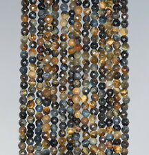 3MM BLUE TIGER EYE HAWK EYE GEMSTONE FACETED ROUND LOOSE BEADS 15.5""