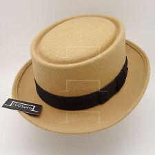 CLASSIC Wool Felt Pork Pie Flat Top Hat Men Gentlemen Unisex | 57cm | Beige