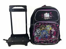 """Monster High Black Rolling Backpack Large School Back Pack Backpack 16"""" for Kids"""