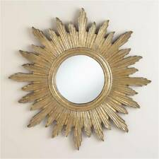 Wall CARVED MIRROR Home Living Room NATURAL GOLDEN  FOIL MDF & Glass