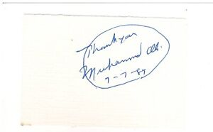 """3.5"""" x 2.5"""" Paper Signed by Muhammad Ali in 1989 w/COA"""