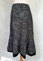 """M&S Embroidered Wool Blend Grey & Black Skirt  Ruffle Velvet Hem Size 16,  W 32"""""""