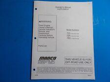 1998 Manco Machine Offroad Vehicle Model 723 725 783 Operators Supplement