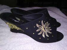 Vintage 1980's Black Suede Gold Stud Metal Wedge Heels Dezaria Size 7.5