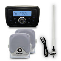 "Herdio Marine Bluetooth MP3 Player Stereo+4""Boat  Marine Speakers+AM/FM antenna"